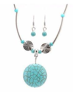 Tibetan Silver Plated Set - Round Shaped Necklace with Dangle Earrings 0e223b9e8b7e