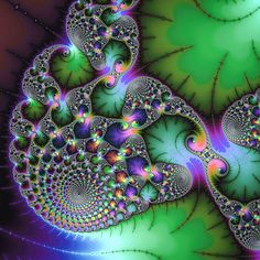 Jewel colored fractal - abstract digital art. Fractals are the most fascinating math art, look at the beautiful colors (green, purple and many more) and the amazing details (spirals, fractal leaves, floral elements). Perfect for your modern home decor or interior design, great gift for a math teacher or student. Available as poster, framed fine art print, metal, acrylic or canvas print. (c) Matthias Hauser hauserfoto.com