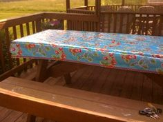 Stay put fitted table cloth with elastic underneath (DIY? Sewing Ideas, Sewing Projects, Fitted Tablecloths, Picnic Table, Custom Made, Toddler Bed, Dining Room, Gardening, Create