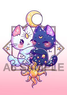 Luna y Artemis Cute Animal Drawings Kawaii, Cute Kawaii Animals, Cute Cat Drawing, Cute Drawings, Moon Drawing, Kawaii Anime, Chat Kawaii, Kawaii Cat, Japon Illustration