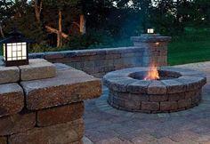 Beautiful stone fire pit area.