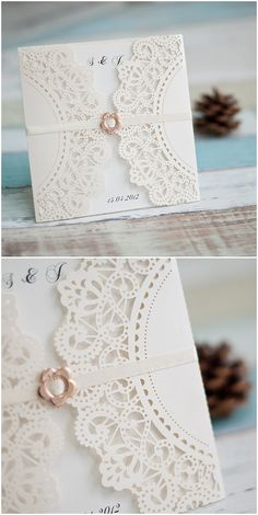delicate ivory laser cut elegant wedding invitations with ribbon and buckle #elegantweddinginvites