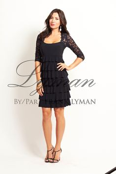 e604a82b18a Frank Lyman dress. Black layers with lace bodice and arms. Black Layers