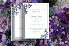 Printable Wedding invitation template Navy blue  floral by Oxee