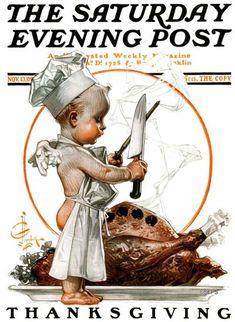 Thanksgiving Cherub Sharpening Knife (J.C. Leyendecker, November 13, 1909)