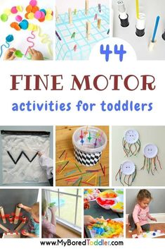 44 fine motor activities for toddlers - a great collection of fine motor activities for 1 year olds, 2 year olds and 3 year olds. Easy fine motor fun for toddlers and preschoolers # indoor activities for 3 year olds Fine Motor Activities for Toddlers Toddler Fine Motor Activities, Activities For 1 Year Olds, Motor Skills Activities, Preschool Learning Activities, Infant Activities, Toddler Preschool, Educational Activities, Easy Toddler Crafts 2 Year Olds, 3 Year Old Preschool