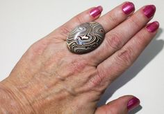 Extra Large, High-Domed, Detroit Agate (aka Fordite) set in a Vintage, Sterling Silver Ring - A Bold Statement Piece!! ~ mrfeld ~ FR107 by mrfeld on Etsy