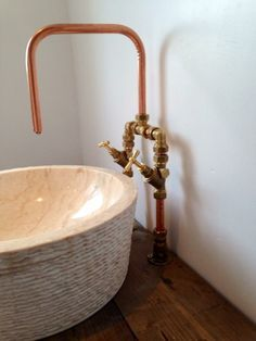 Copper piping as faucet Could use copper shower head? Description from pinterest.com. I searched for this on bing.com/images