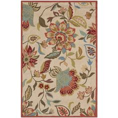 Safavieh Four Seasons Collection FRS435A Hand-Hooked Area Rug, 3-Feet 6-Inch by 5-Feet 6-Inch, Ivory and Rust