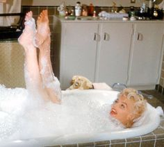 """A deleted bath scene from """"The Seven Year Itch"""". 1954. youtube.."""