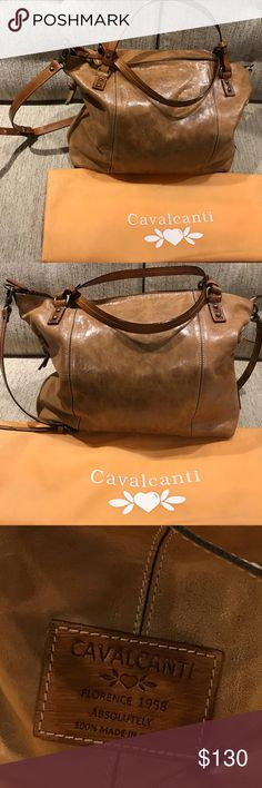 """Distressed Italian Leather Cavalcanti Bag In perfectly clean """"Like New"""" condition. Used only a handful of times. Has original tags and dustbag. Stunningly handsome unisex bag, perfect for overnights at your BFF's or just as an oversized everyday bag. Unstructured, caramel colored, distressed, glazed leather, and it comes with a removable shoulder strap. Made in Florence, Italy. 16""""w x 14""""H x 5""""D Cavalcanti Bags"""