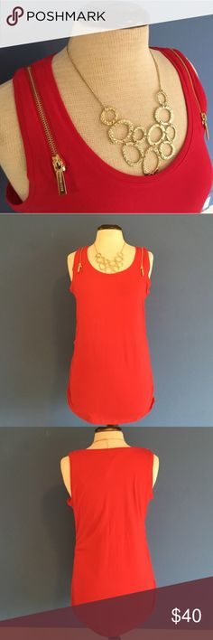 🆕 Michael Kors Tank w/Gold Zippers NWT - Red is hot! The sirens will come on when you wear this top. LOL. The gold zippers on the shoulder straps in very unique. The sides are ruched giving your the perfect fit.  Material:  95% Cotton/5% Elastane MICHAEL Michael Kors Tops