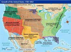 Original 13 Colonies – From Great Britain by Treaty of Paris – 1783 Louisiana Purchase – Bought from France – 1803 Florida Cessation – From Spain – 1819 Texas An… Texas History, Us History, History Facts, Family History, American History, Native American, History Timeline, Modern History, History Photos