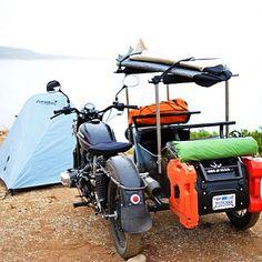 "ironandresingarage: ""You CAN take it with you. InR x Ural "" Ural Bike, Ural Motorcycle, Motorcycle Camping, Touring Motorcycles, Old Motorcycles, Kayaks, Kayak Trailer, Side Car, Overland Trailer"