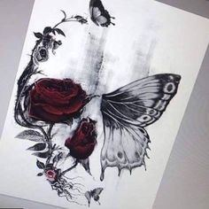 Tattoos Cost Skull Butterfly Sketch