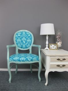 teal demask chair