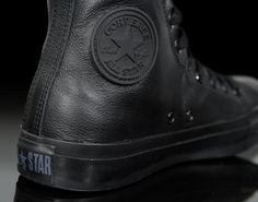 Chuck Taylor Allstar Monochrome in black leather by Converse. MUST! HAVE! THESE!