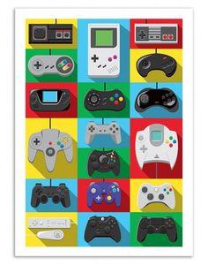 Poster des manettes de jeu vidéo
