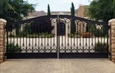 Wholesale ,half price,High Quality iron doors and gates for Door dealers and Home builders in the United States of America Wrought Iron Driveway Gates, Driveway Entrance, Front Gates, Entrance Gates, Iron Garden Gates, Iron Fences, Metal Gates, Front Entry, Entry Doors