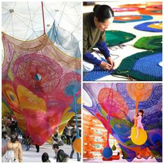 Toshiko Horiuchi-MacAdam is an incredible crochet artist from Japan. She makes gigantic crochet installations that act as both art and playgrounds. Freeform Crochet, Crochet Art, Crochet Crafts, Crochet Patterns, Janet Echelman, Japanese Crochet, Yarn Bombing, Textile Artists, Art And Architecture