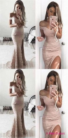 prom dresses,Off Shoulder Lace Mermaid Sexy Side Slit Prom Dresses, Long Prom Dresses, Evening Dresses PD20188300