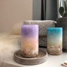 オーガニック-シェルを閉じ込めたキャンドル -ライラックマリン- Beautiful Candles, Best Candles, Diy Candles, Pillar Candles, Candle Arrangements, Centerpieces, Beach Wedding Tables, Homemade Business, Candle Making Business