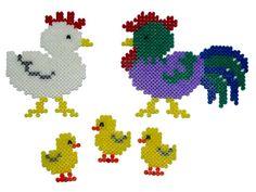 Chicken family hama perler beads