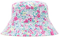 Joules Girls' Reversible Ditsy Print Hat, Multi