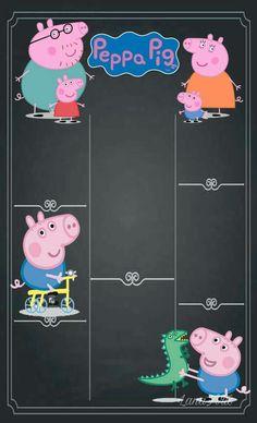 Peppa Pig Invitations, Birthday Party Invitations, Baby 1st Birthday, 2nd Birthday Parties, George Pig Party, Peppa Pig Teddy, Aniversario Peppa Pig, Bernardo, Chalkboard