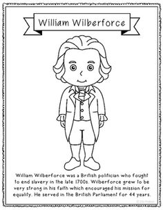 william wilberforce biography coloring page craft or poster england