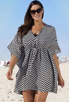 Plus Size Black Chevron Stripe Cover Up. Lightweight pullover poncho with partial closed side seam stitching Plus Size Womens Clothing, Plus Size Outfits, Plus Size Fashion, Clothes For Women, Bathing Suit Dress, Bathing Suit Covers, Swimsuits For All, Plus Size Swimsuits, Swimwear Cover Ups