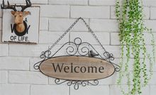 American country iron retro cafe bar shop decoration wood-sided wall decorative solid wood wall hangings welcome sign(China (Mainland))