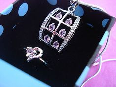 Pink Crystal and Silver Necklace and Ring Set Gift Box Set USA SELLER