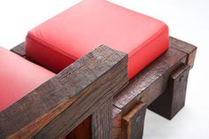 reclaimed oak wood armchair and footrest