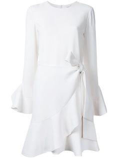Goen.j Woman Cold-shoulder Wrap-effect Cotton Mini Dress White Size S GOEN.J 7XdFYHmE