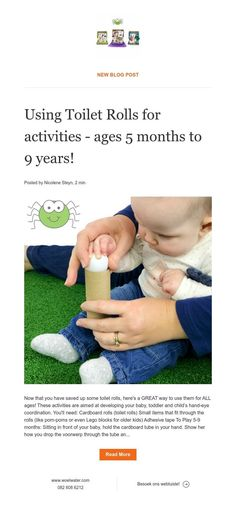 Using Toilet Rolls for activities - ages 5 months to 9 years! Cardboard Rolls, Kids Hands, 5 Months, News Blog, Activities, Baby, Baby Humor, Infant, Babies