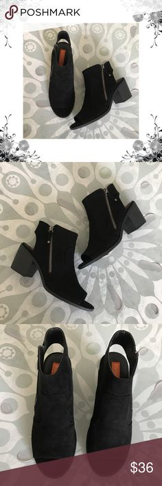 """Rocket Dog 'Crest Coast' Open Booties Manufacturer Color is Black. New with box. Heel Height is approx 2 3/4"""". Platform Height is approx 1/4"""". Shaft Height is approx 4 1/2"""". Shaft Width is approx 10"""". Side Zipper closure. Textile/Faux Suede material. Open Back. Open Toe. Bundle for discounts! Thank you for shopping my closet! Rocket Dog Shoes Ankle Boots & Booties"""