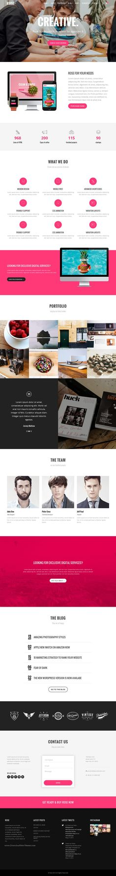 ROSE is a Modern, Responsive multipurpose Onepage HTML Bootstrap template, perfect for Creative, Business, Photography, Agency or landing page website.