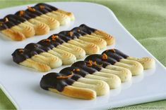 Orange-Flavored Spritz Sable Cookies dipped in Dark Chocolate Recipe
