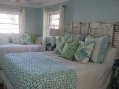 <3 Shutters Headboard - love the chippy whites with these hues of turquoise