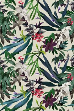 Beautiful patterns, textile patterns, prints and patterns, motif floral, fl Motifs Textiles, Textile Patterns, Textile Design, Flower Patterns, Print Patterns, Motif Tropical, Tropical Pattern, Tropical Flowers, Tropical Prints