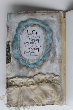I love this artists' pallette and her use of mixed media gives it an ethereal feel. Fabric Journals, Journal Paper, Art Journal Pages, Art Journals, Fabric Books, Vintage Journals, Paper Bag Album, Collage Book, Morning Thoughts