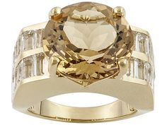 Stratify(Tm) 6.38ct Mandiore Quartz And 3.06ctw White Topaz 18k Gold Over Silver Ring