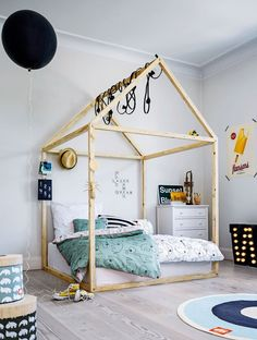 Playful bed in a cave of a house - create some extra magic with light chains. The kids will love it!