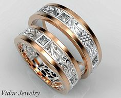 Wedding Bands His and Hers Wedding Bands,Matching Wedding Bands Set,Diamond Wedding Bands Rose Gold Matching bands,Custom,Two Tone by Vidarjewelry on Etsy - Welcome Vidar Jewelry by roi avidar! Specializing in Custom Diamond Matching Wedding Band Sets, Engagement Wedding Ring Sets, Wedding Matches, Diamond Wedding Bands, Matching Set, Matching Rings, Cool Wedding Rings, Custom Wedding Rings, Wedding Jewelry