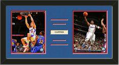 Two framed 8 x 10 inch Los Angeles Clippers photos of Chris Paul with a customizable nameplate*, double matted in team colors to 24 x 12 inches.  The lines show the bottom mat color.  $79.99 @ ArtandMore.com