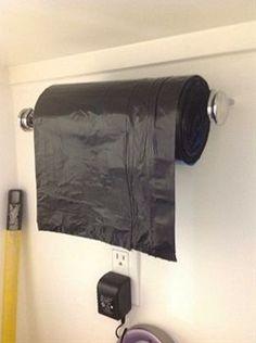 Brilliant Garage Organization Idea, Repurposed Paper Towel Holder