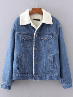 Shop Blue Denim Jacket With Pocket online. SheIn offers Blue Denim Jacket With Pocket & more to fit your fashionable needs. Fleece Denim Jacket, Sherpa Lined Denim Jacket, Cropped Denim Jacket, Ripped Denim, Denim Jackets, Outerwear Jackets, Jacket Jeans, Jean Jackets, Stylish Outfits