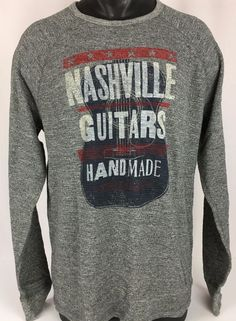 NWT LUCKY BRAND Thermal Shirt Nashville Guitars Men's XL Gray Long Sleeve Crew  #LuckyBrand #Thermal