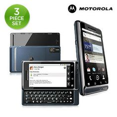 """3 Piece Set: Motorola Droid 2 Google Android 2.2 1GHz 4 GB 3.7"""" Smartphone & Chargers"""